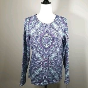Talbot Cotton Patterned Long Sleeve Tee Large